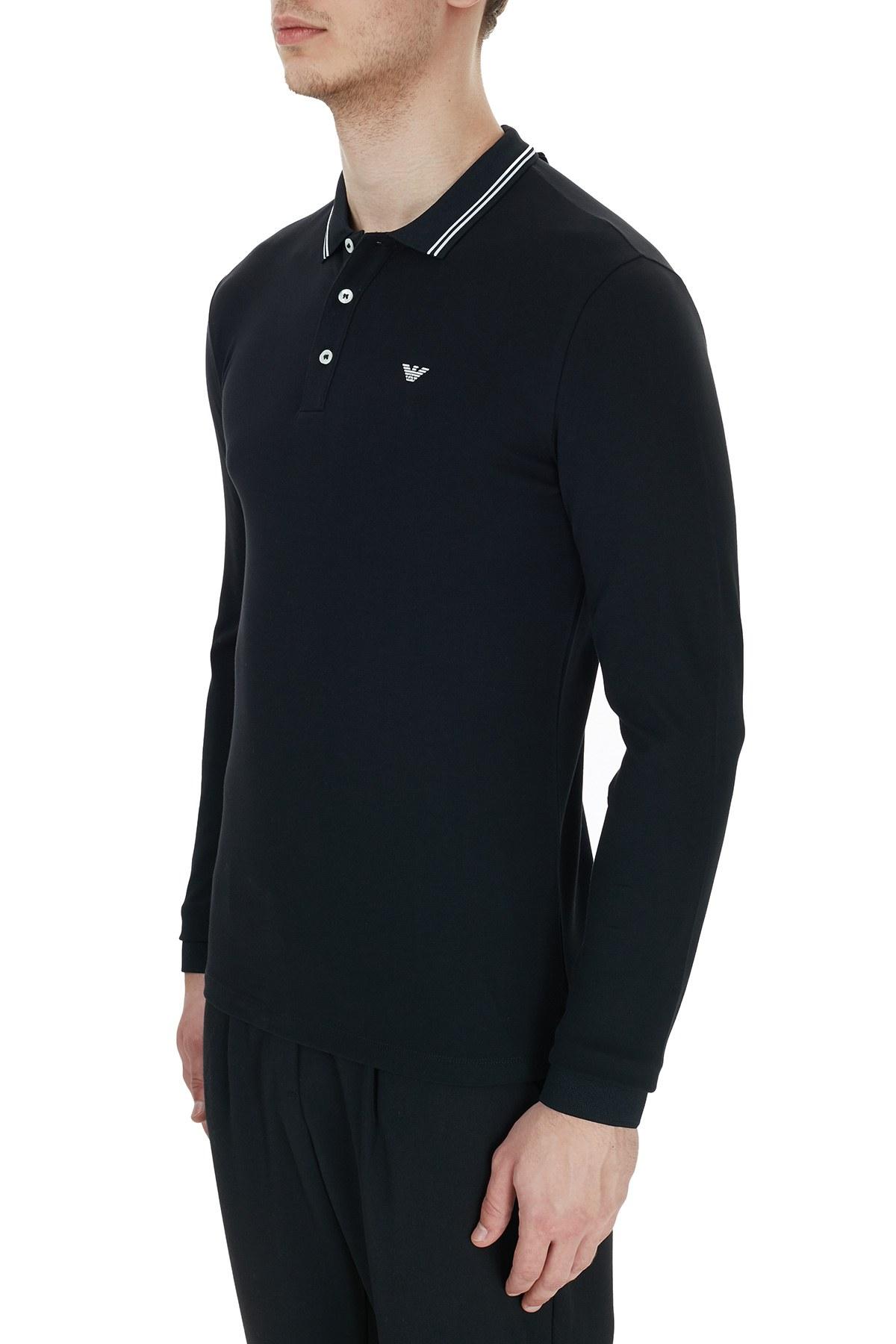 Emporio Armani Pamuklu Düğmeli T Shirt Erkek Polo 8N1F36 1JPTZ 0999 SİYAH