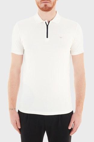 Emporio Armani - Emporio Armani Pamuklu Fermuarlı T Shirt Erkek Polo S 6H1FE0 1JJRZ 0101 BEYAZ
