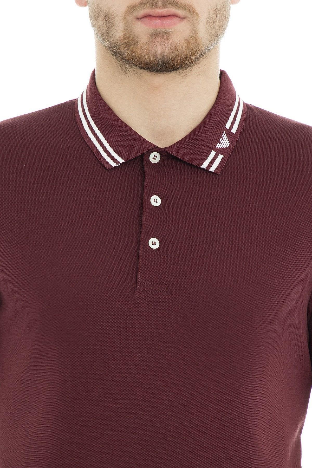 Emporio Armani Polo Erkek T Shirt 3G1FL0 1JBQZ 0347 BORDO