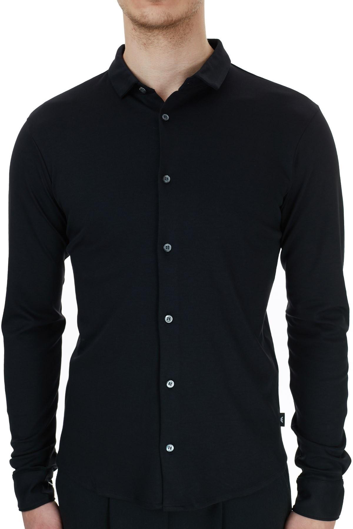 Emporio Armani Regular Fit Düz Yaka % 100 Pamuk Erkek Gömlek 8N1CH6 1JPRZ 0999 SİYAH