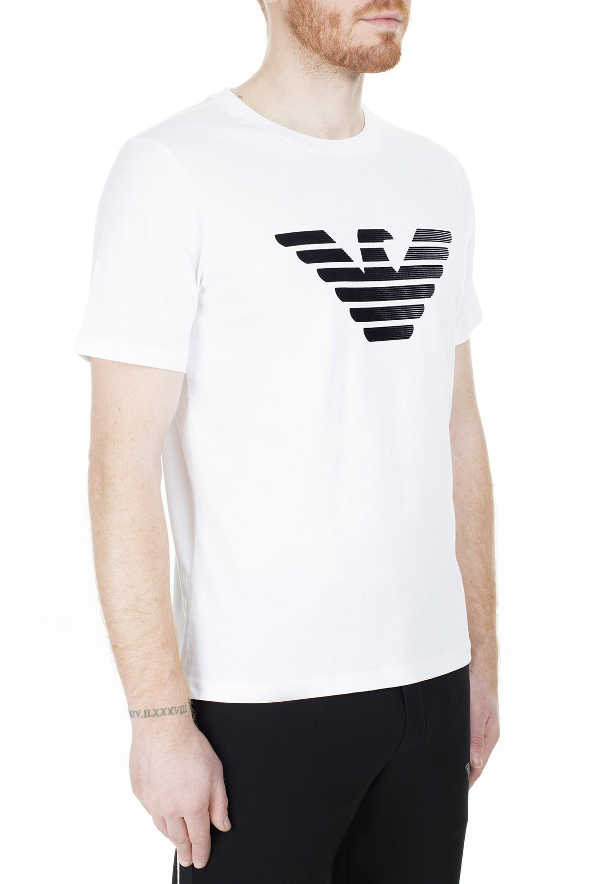 Emporio Armani Regular Fit Erkek T Shirt 3H1TD0 1J30Z 0100 BEYAZ