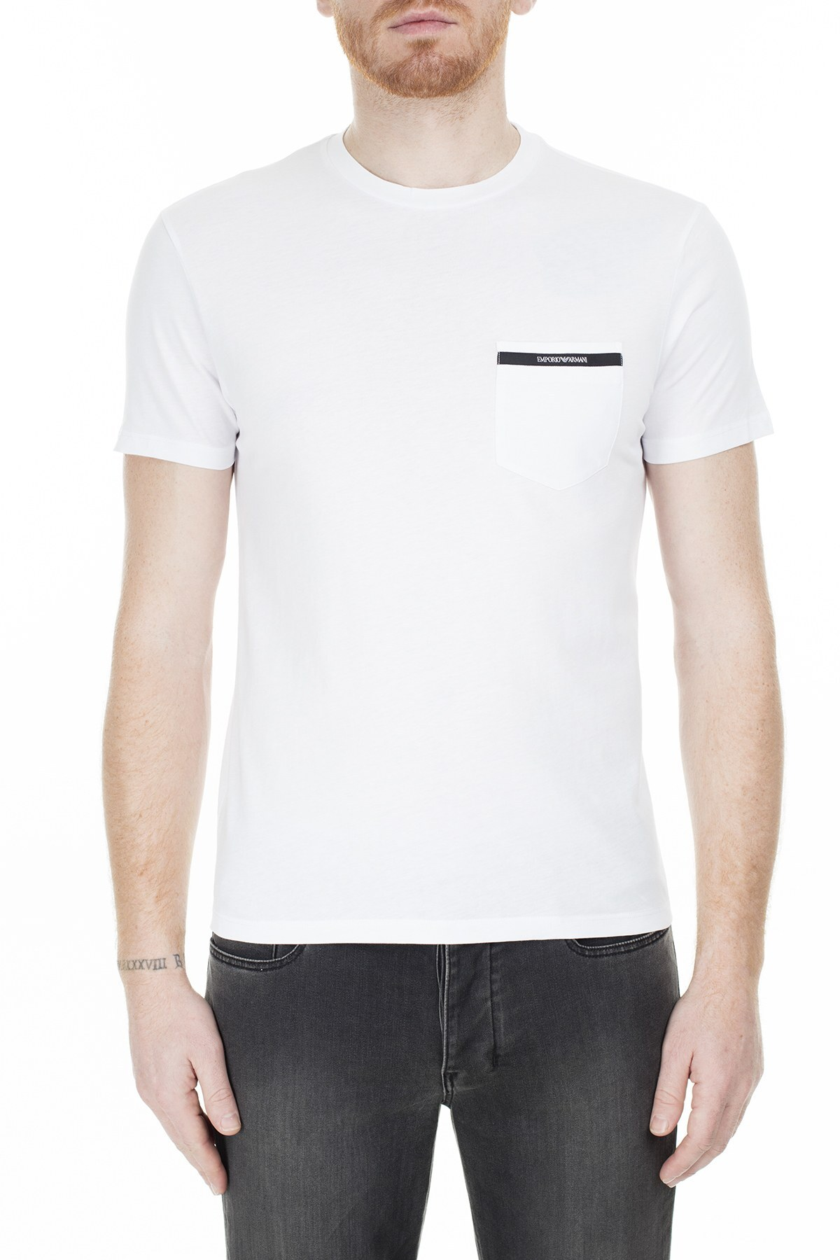 Emporio Armani Regular Fit Erkek T Shirt S 6G1TA6 1J00Z 0100 BEYAZ