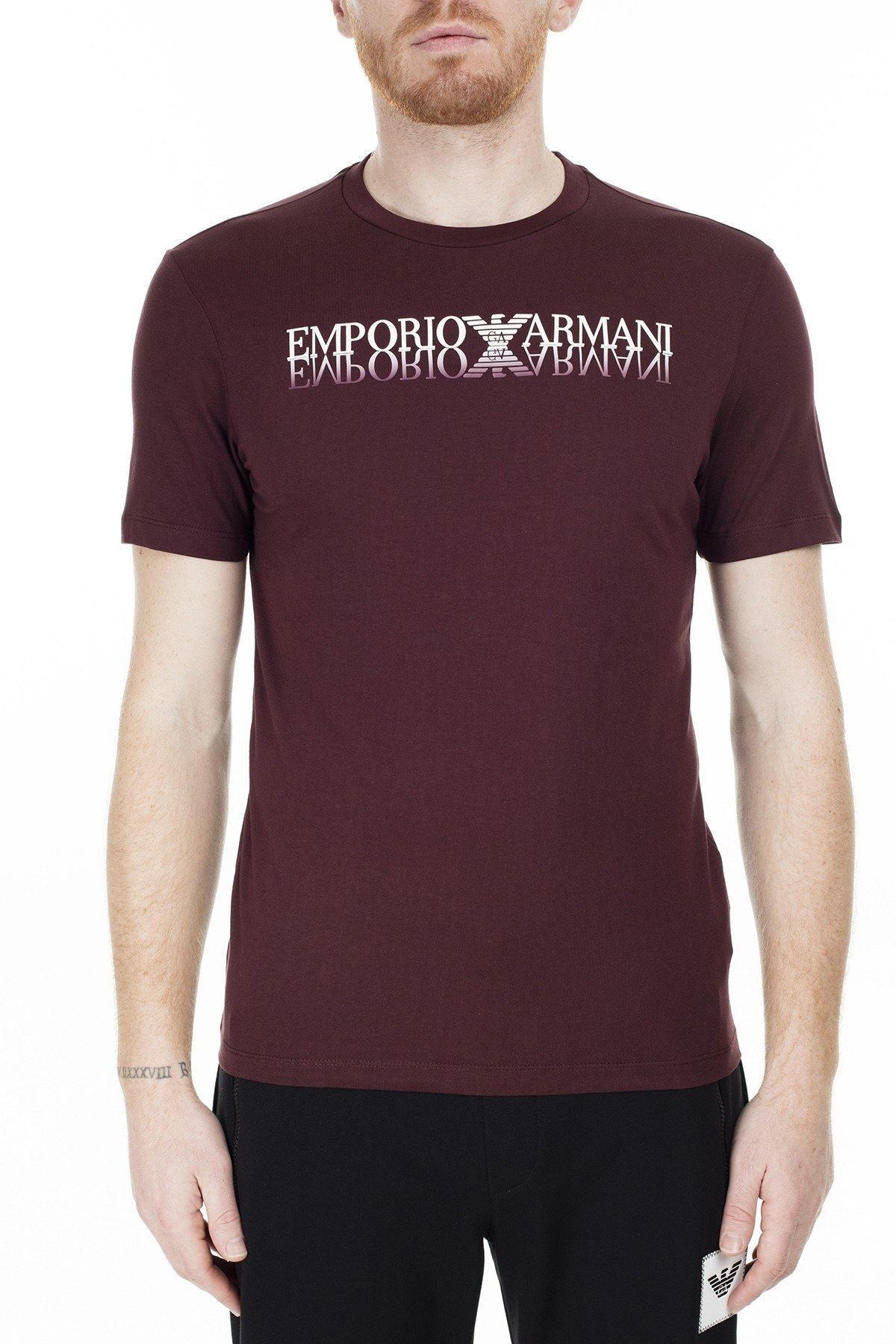 Emporio Armani Regular Fit Erkek T Shirt S 6G1TC3 1J00Z 0348 BORDO