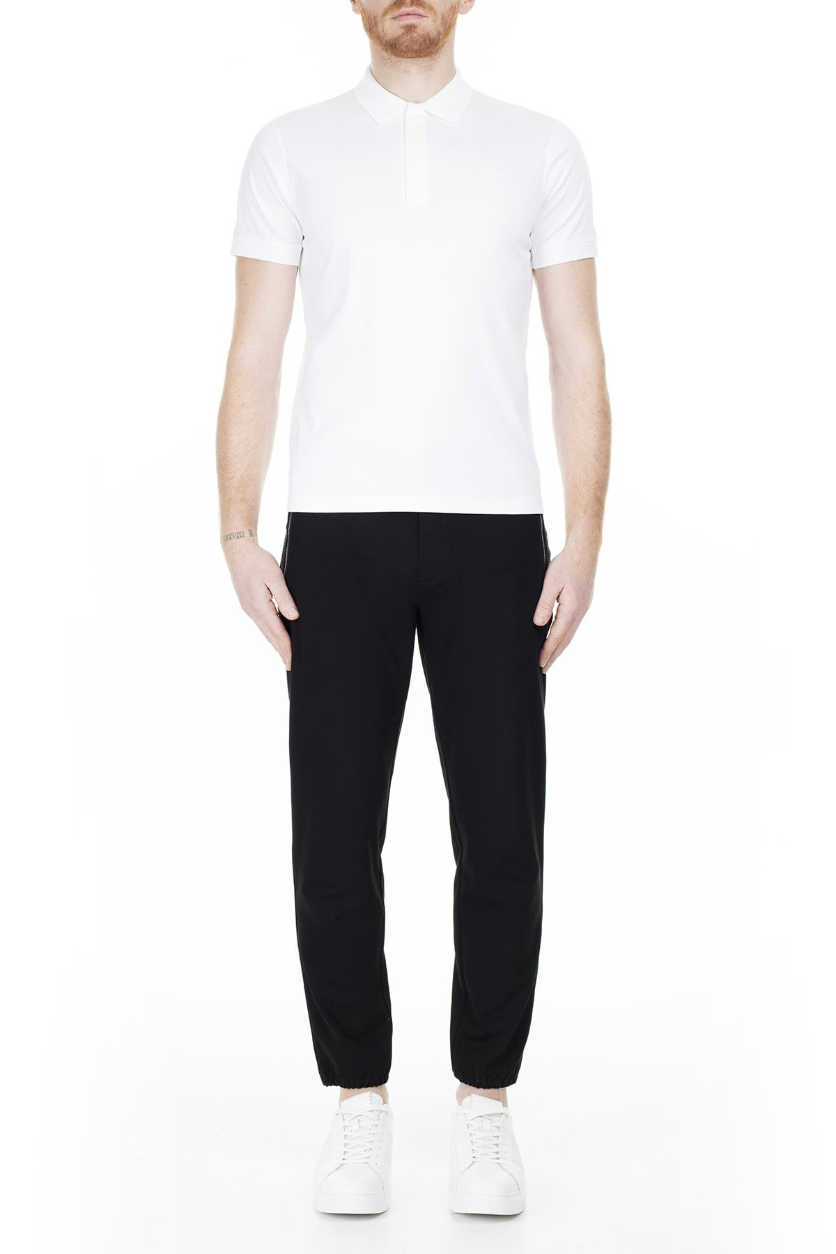 Emporio Armani Regular Fit T Shirt Erkek Polo 3H1F61 1JSTZ 0100 BEYAZ