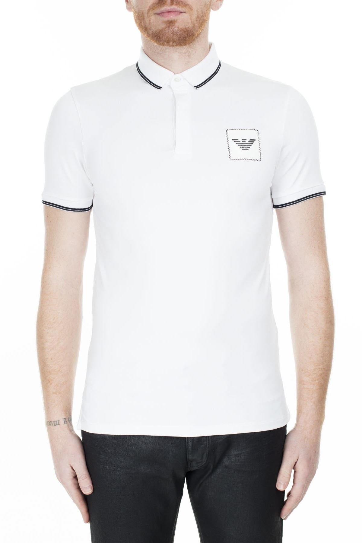 Emporio Armani Regular Fit T Shirt Erkek Polo S 6G1FG1 1J84Z 0100 BEYAZ