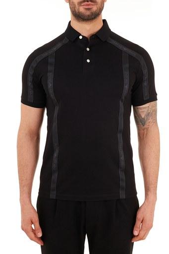 Emporio Armani Şerit Detaylı % 100 Pamuk Düğmeli T Shirt Erkek Polo S 6H1FE4 1JTUZ 0999 SİYAH