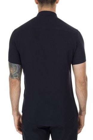 Emporio Armani - Emporio Armani Slim Fit Düz Yaka Erkek Gömlek 3H1C91 1NXKZ 0922 LACİVERT (1)