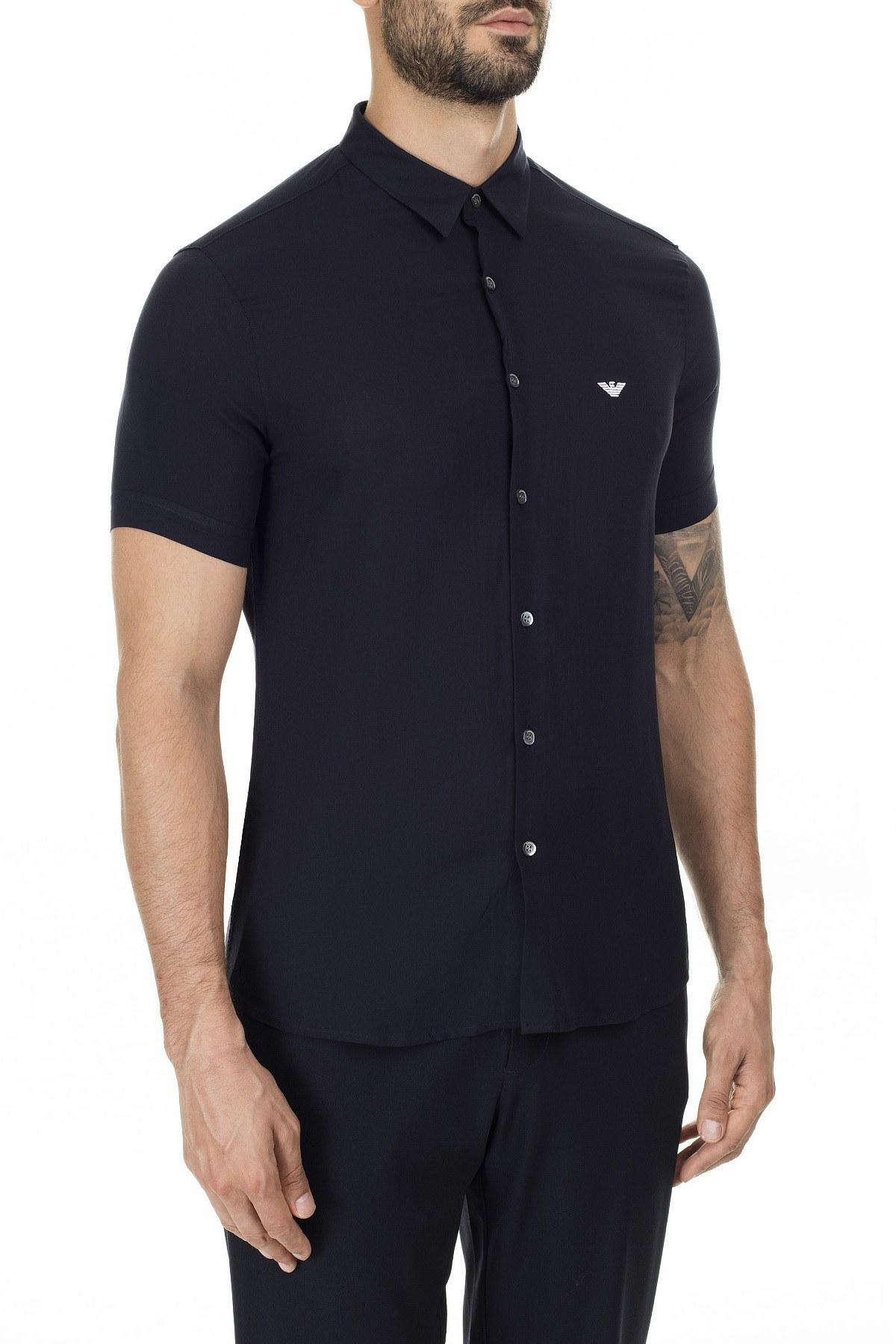 Emporio Armani Slim Fit Düz Yaka Erkek Gömlek 3H1C91 1NXKZ 0922 LACİVERT