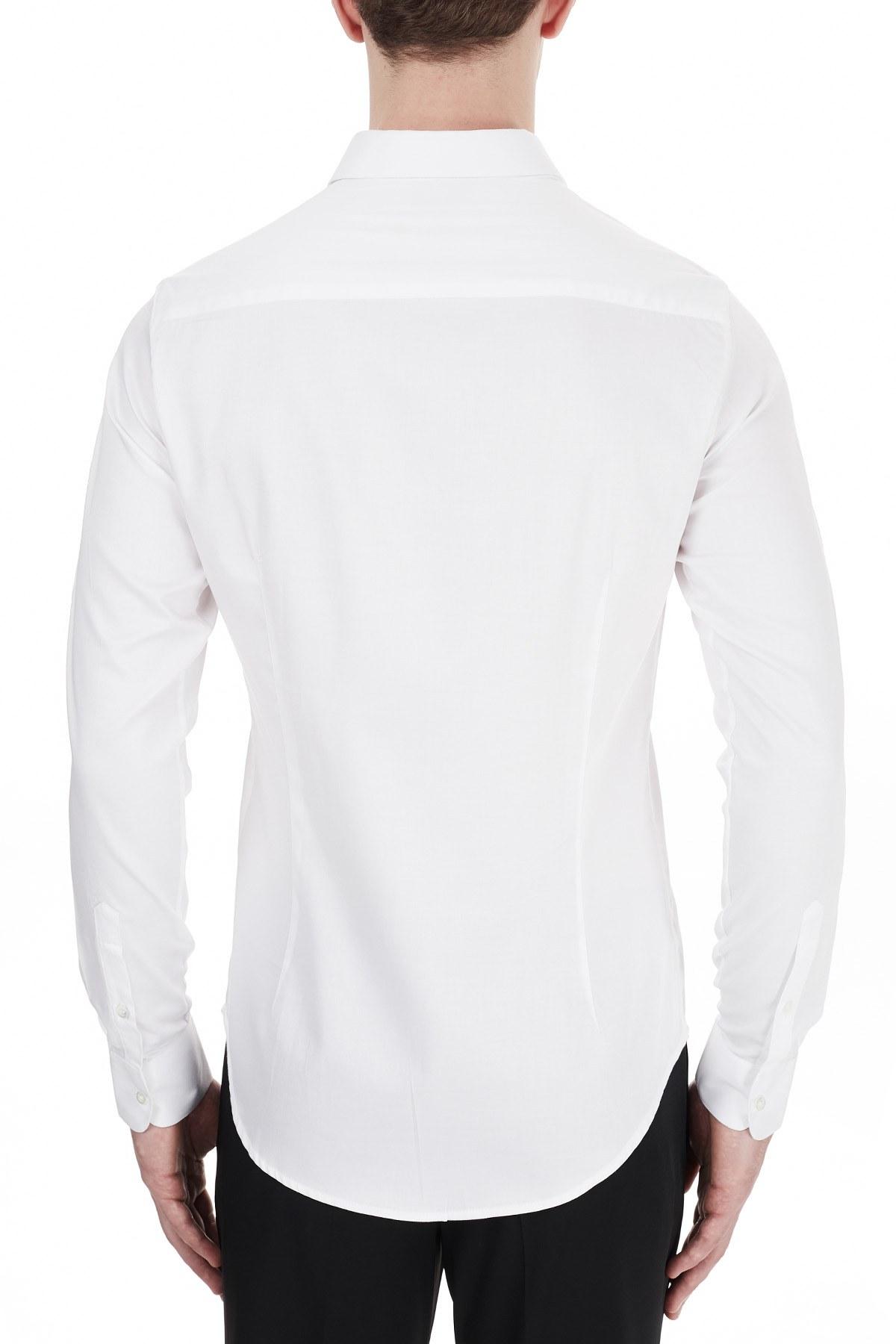 Emporio Armani Slim Fit Düz Yaka Pamuklu Erkek Gömlek 6H1C09 1NB0Z 0100 BEYAZ