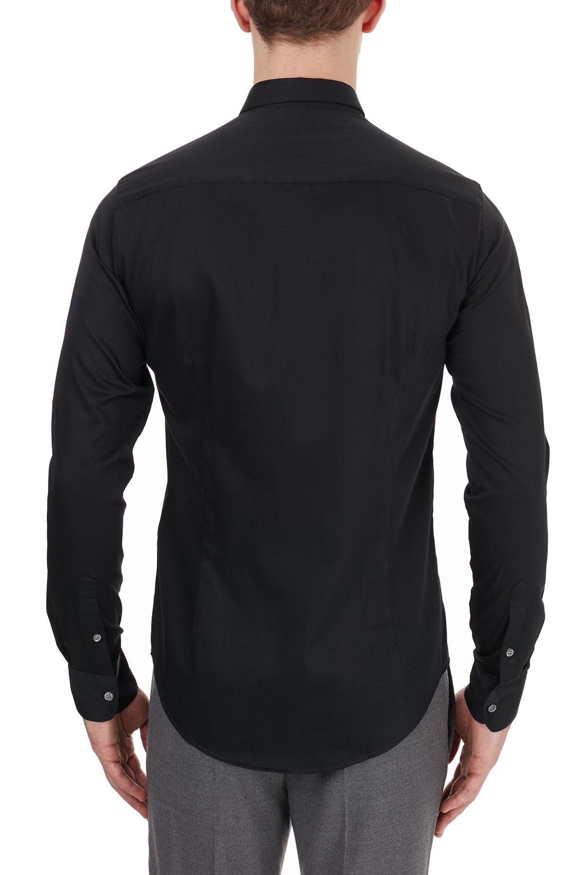 Emporio Armani Slim Fit Düz Yaka Pamuklu Erkek Gömlek 6H1C09 1NB0Z 0999 SİYAH