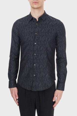 Emporio Armani - Emporio Armani Slim Fit Logo Baskılı Düz Yaka % 100 Pamuk Erkek Gömlek 6H1C09 1NJZZ F620 LACİVERT