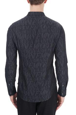 Emporio Armani - Emporio Armani Slim Fit Logo Baskılı Düz Yaka % 100 Pamuk Erkek Gömlek 6H1C09 1NJZZ F620 LACİVERT (1)