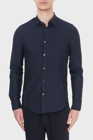 Emporio Armani - Emporio Armani Slim Fit Logo Baskılı Düz Yaka % 100 Pamuk Erkek Gömlek 6H1C09 1NJZZ F948 LACİVERT