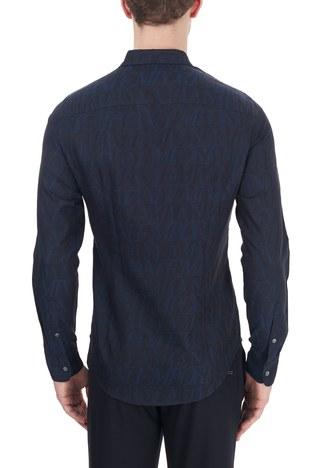 Emporio Armani - Emporio Armani Slim Fit Logo Baskılı Düz Yaka % 100 Pamuk Erkek Gömlek 6H1C09 1NJZZ F948 LACİVERT (1)
