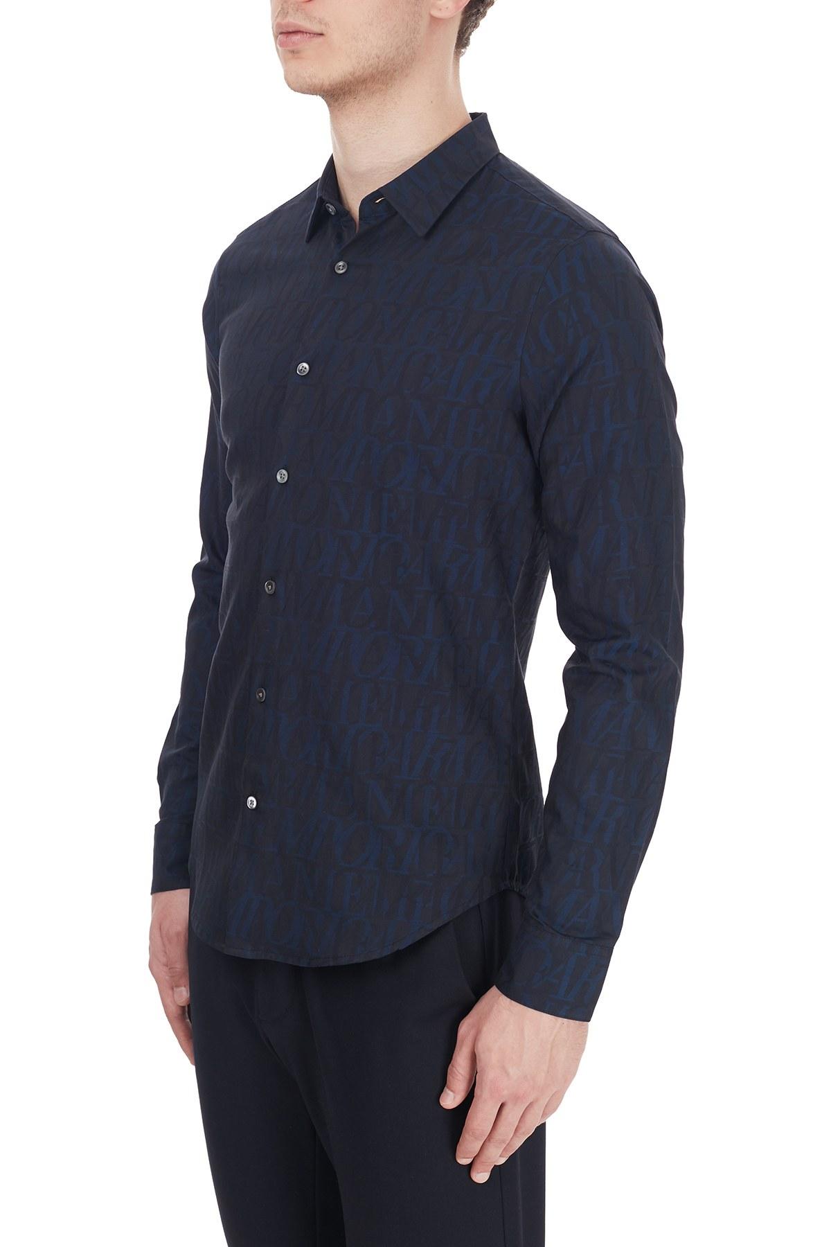 Emporio Armani Slim Fit Logo Baskılı Düz Yaka % 100 Pamuk Erkek Gömlek 6H1C09 1NJZZ F948 LACİVERT