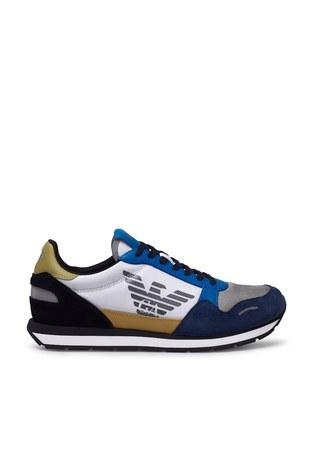Emporio Armani - Emporio Armani Sneaker Erkek Ayakkabı X4X215 XM561 N235 SİYAH-MAVİ