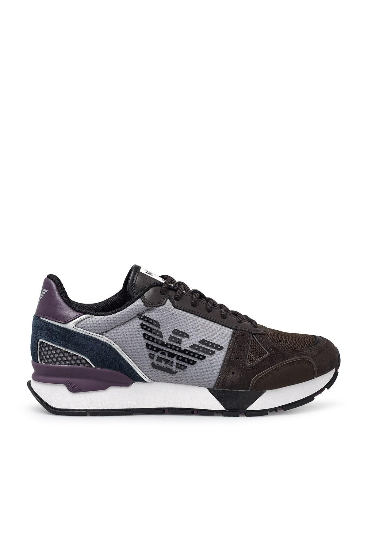 Emporio Armani Sneaker Erkek Ayakkabı X4X289 XM499 N022 KAHVE-GRİ