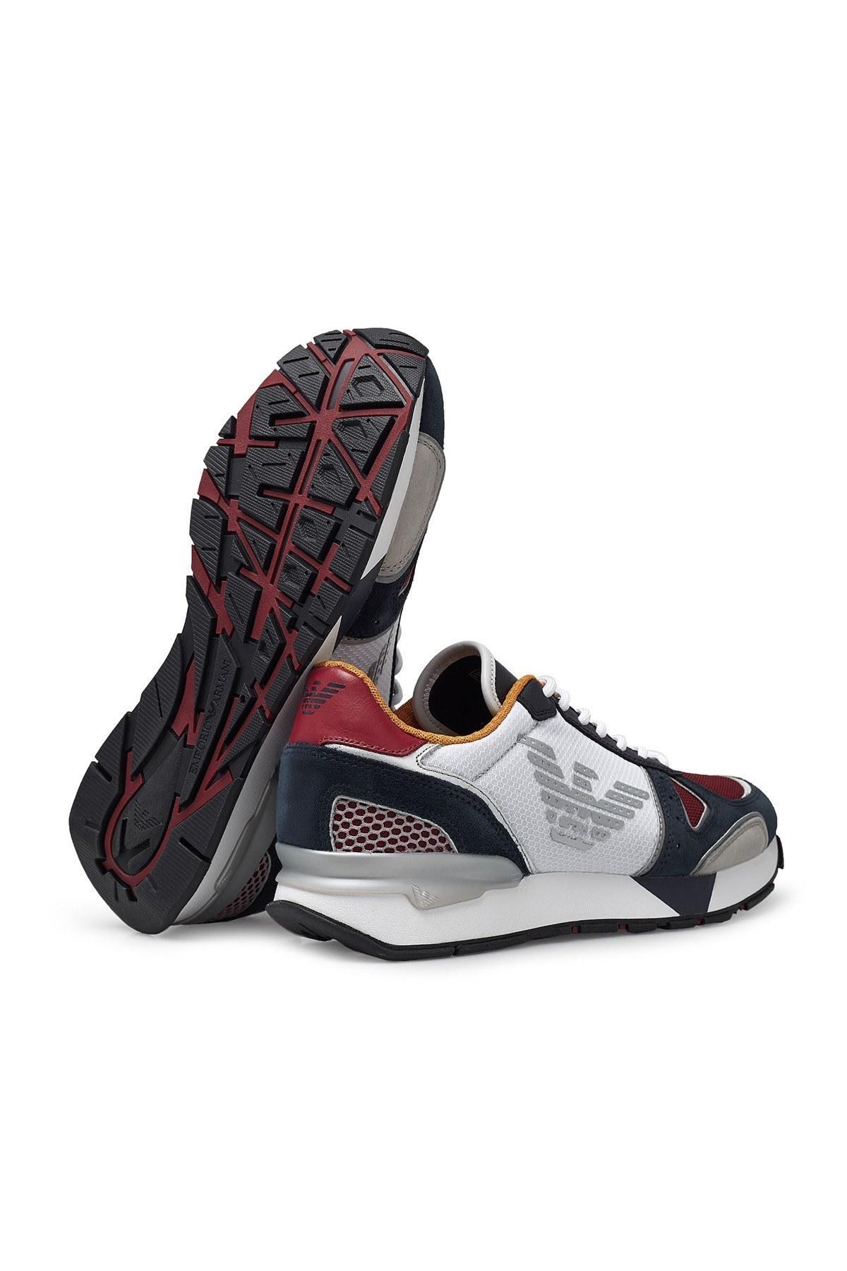 Emporio Armani Sneaker Erkek Ayakkabı X4X289 XM499 N244 BEYAZ-LACİVERT