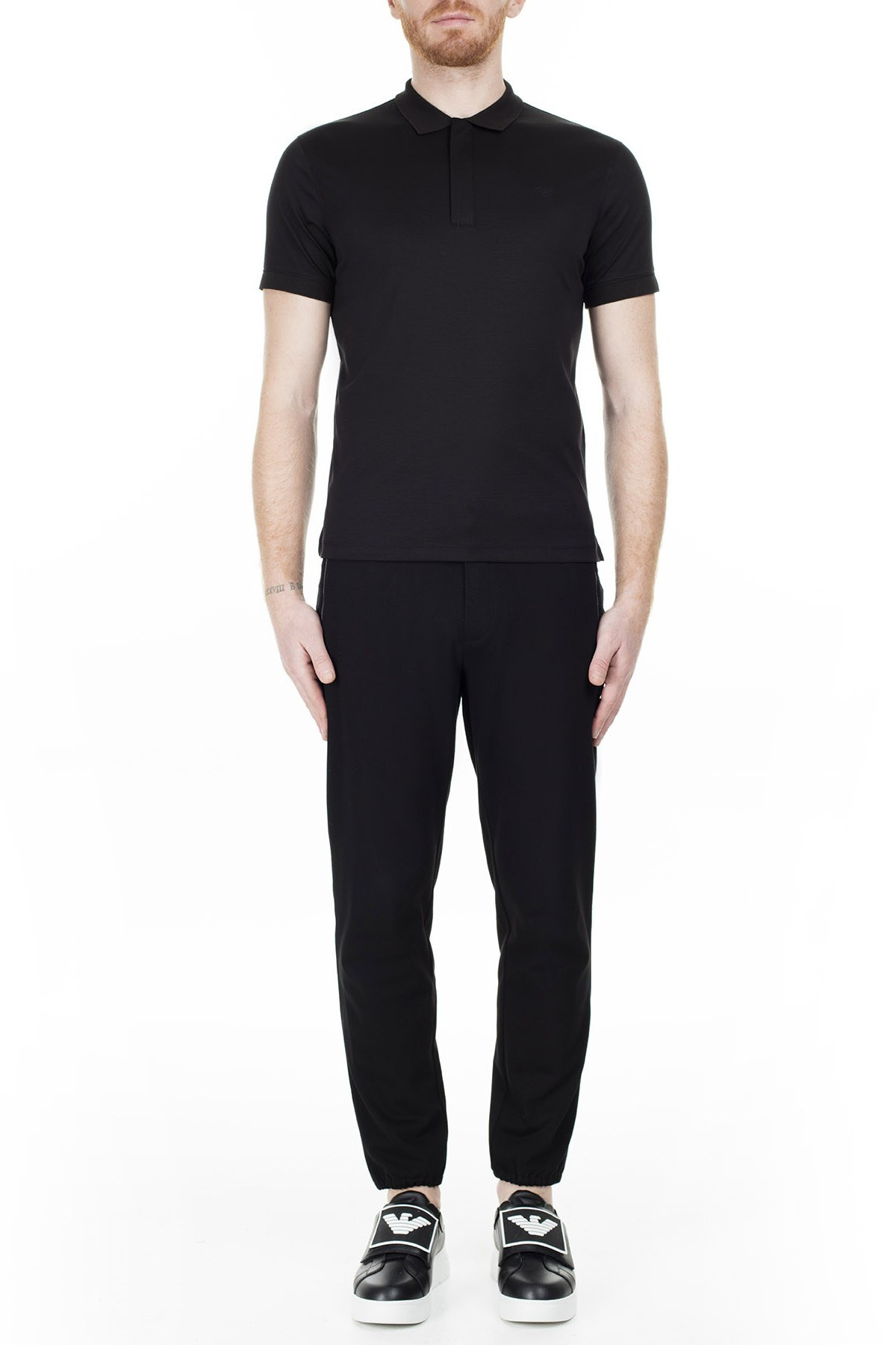 Emporio Armani T Shirt Erkek Polo 3H1F61 1JSTZ 0999 SİYAH