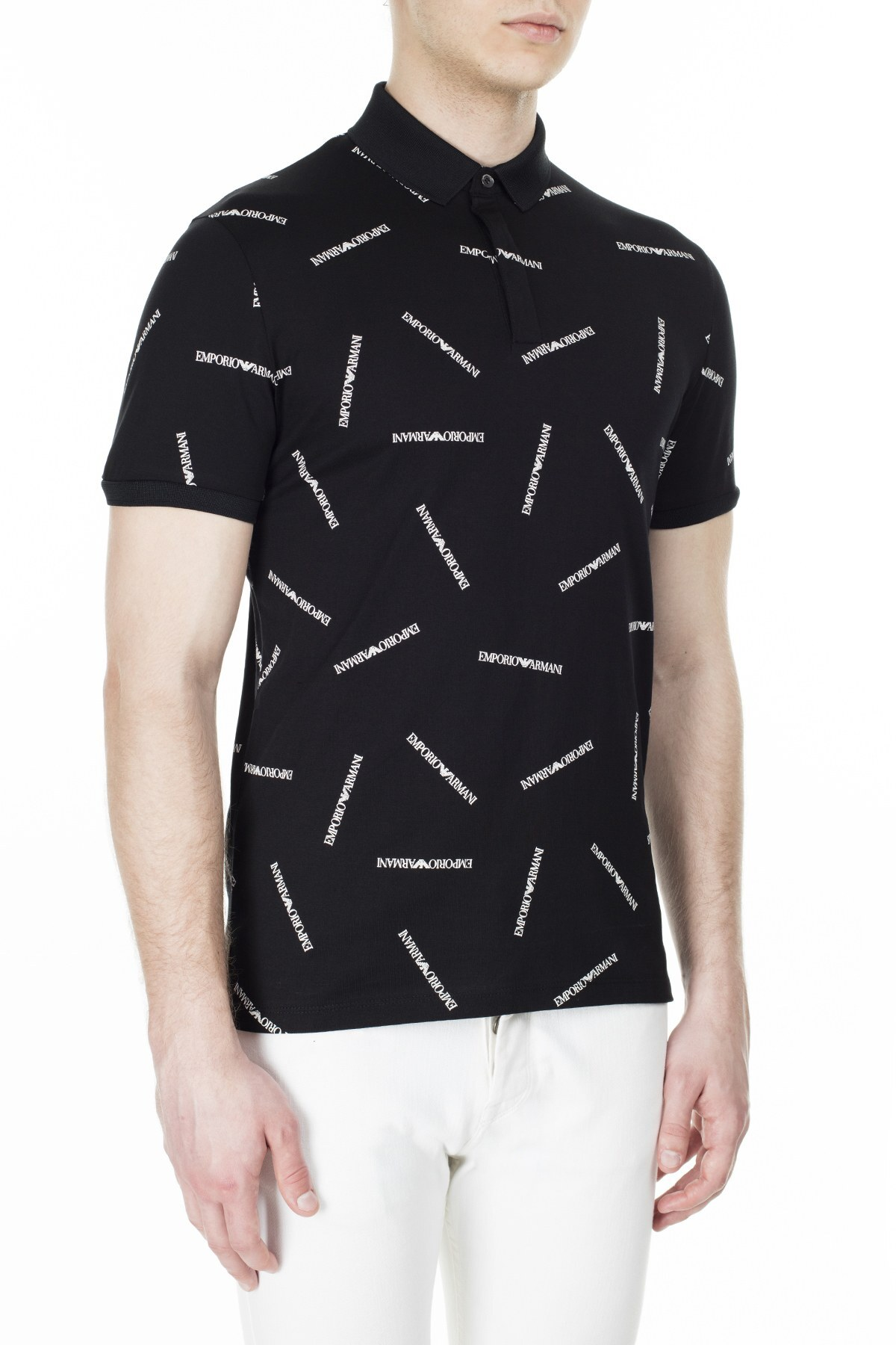 Emporio Armani T Shirt Erkek Polo 3H1F91 1J30Z F928 SİYAH-BEYAZ