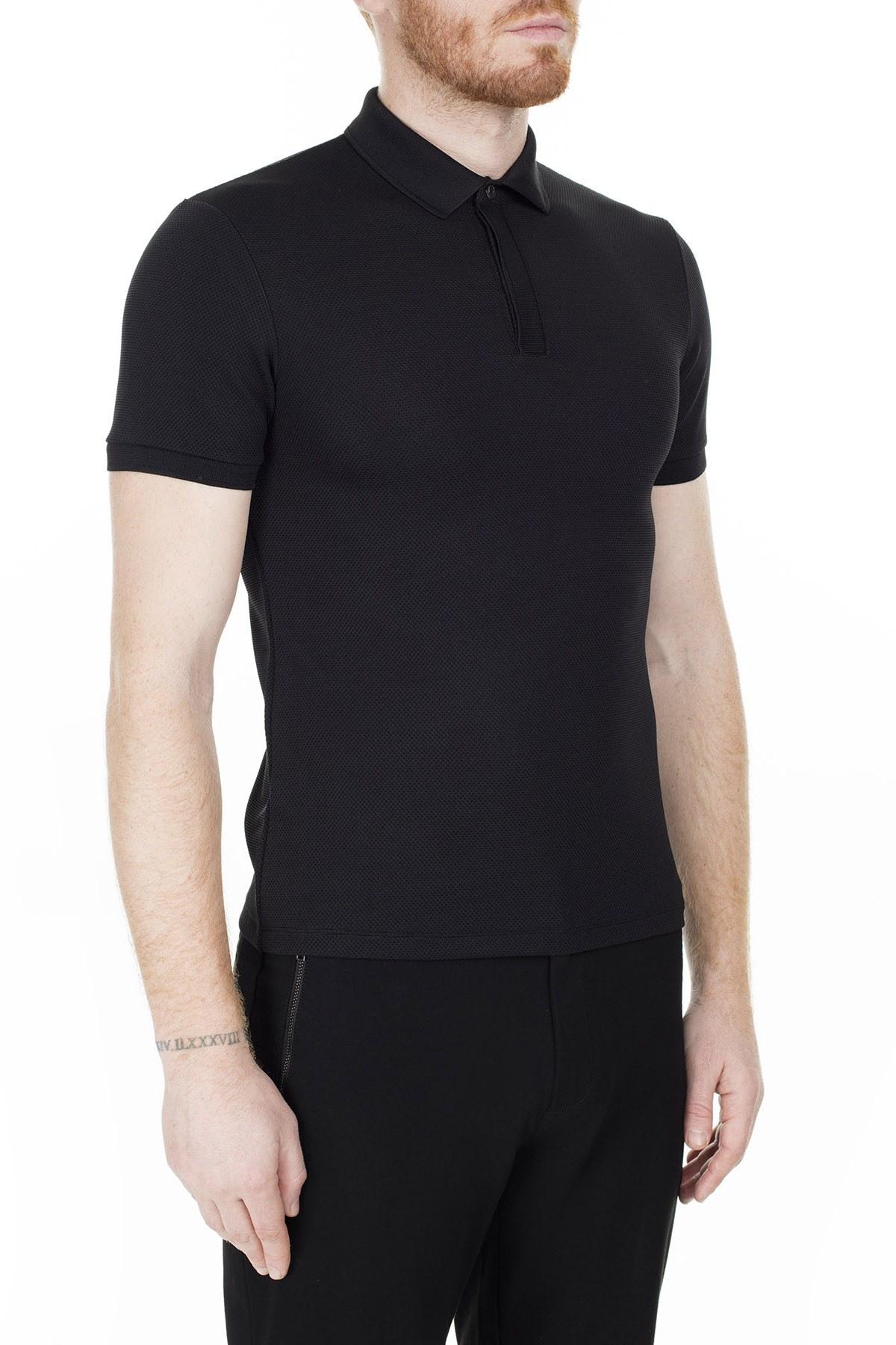 Emporio Armani T Shirt Erkek Polo 3H1F94 1JPDZ 0999 SİYAH