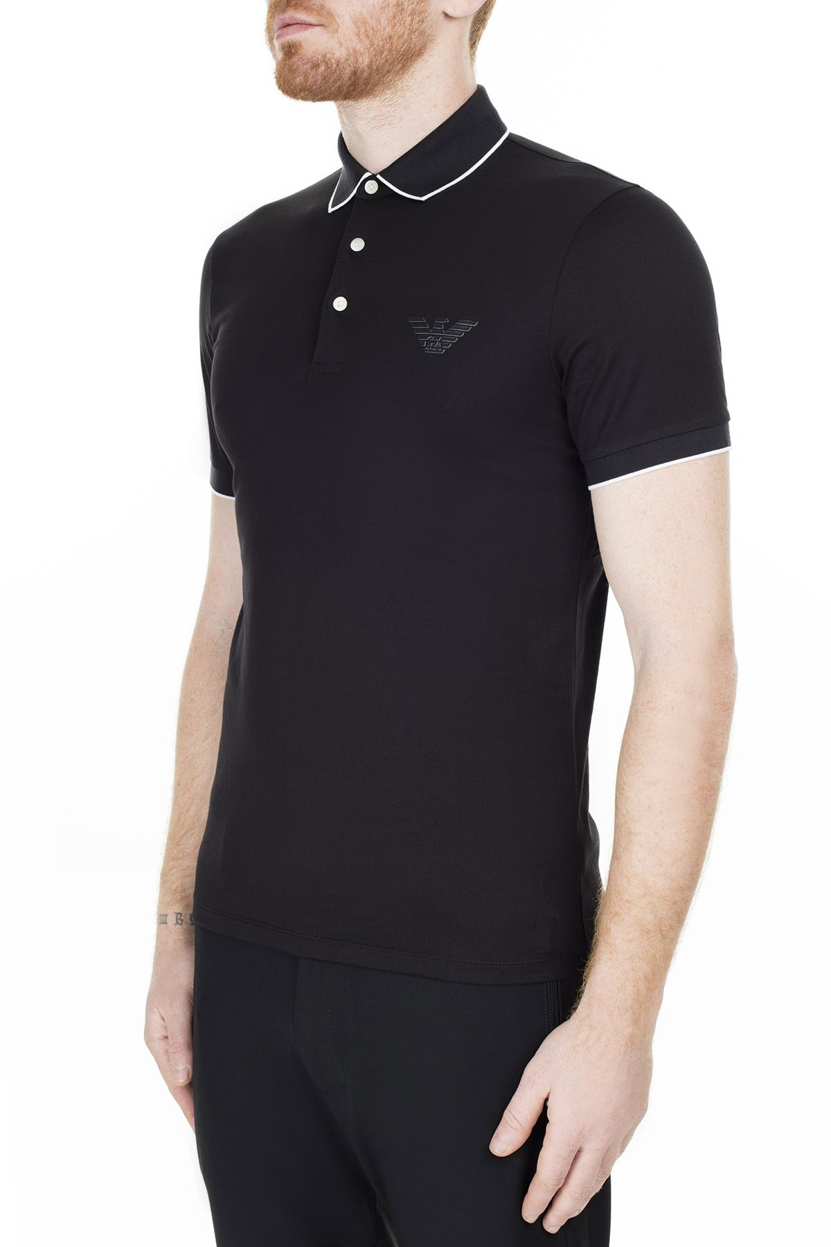 Emporio Armani T Shirt Erkek Polo 3H1FM0 1JCQZ F049 SİYAH