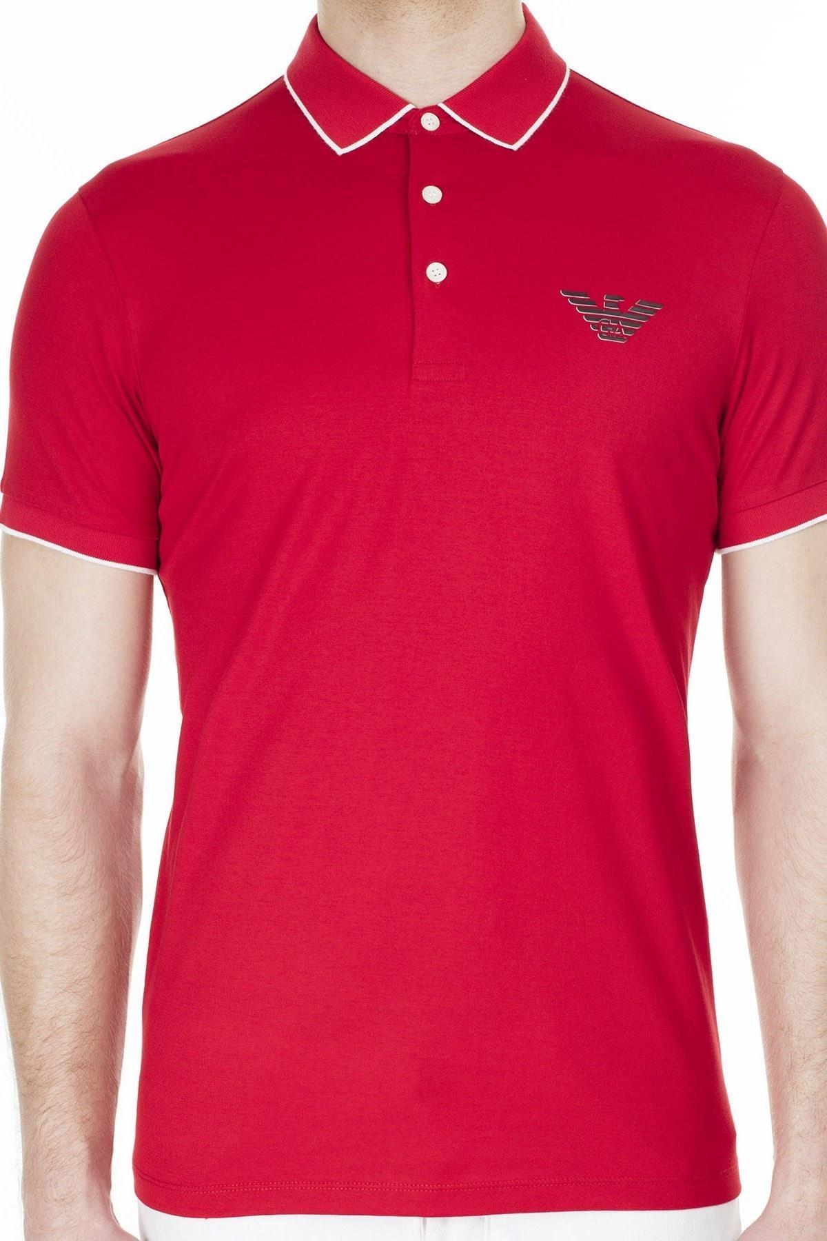 Emporio Armani T Shirt Erkek Polo 3H1FM0 1JCQZ F314 KIRMIZI