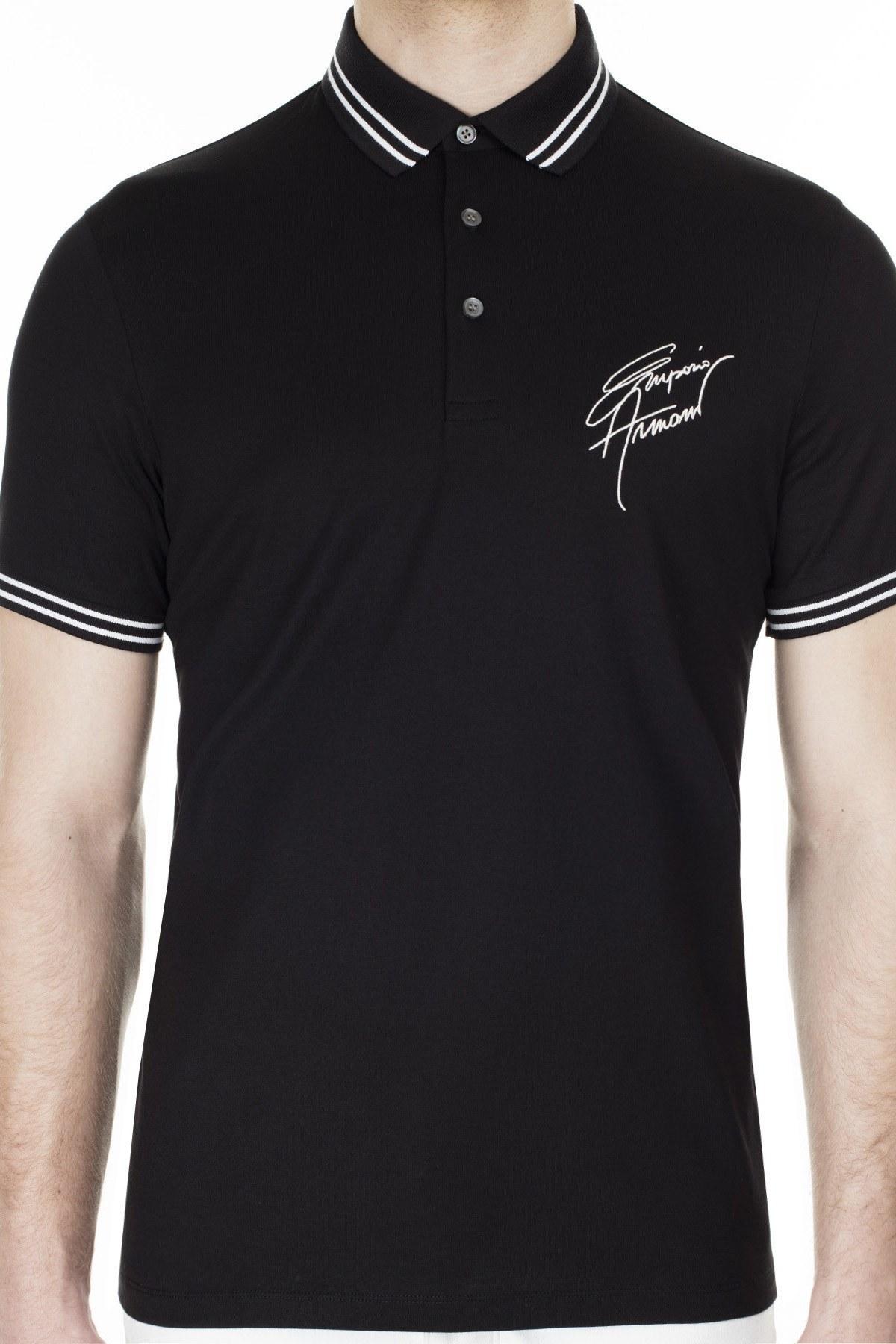 Emporio Armani T Shirt Erkek Polo 3H1FN4 1JCQZ F061 SİYAH