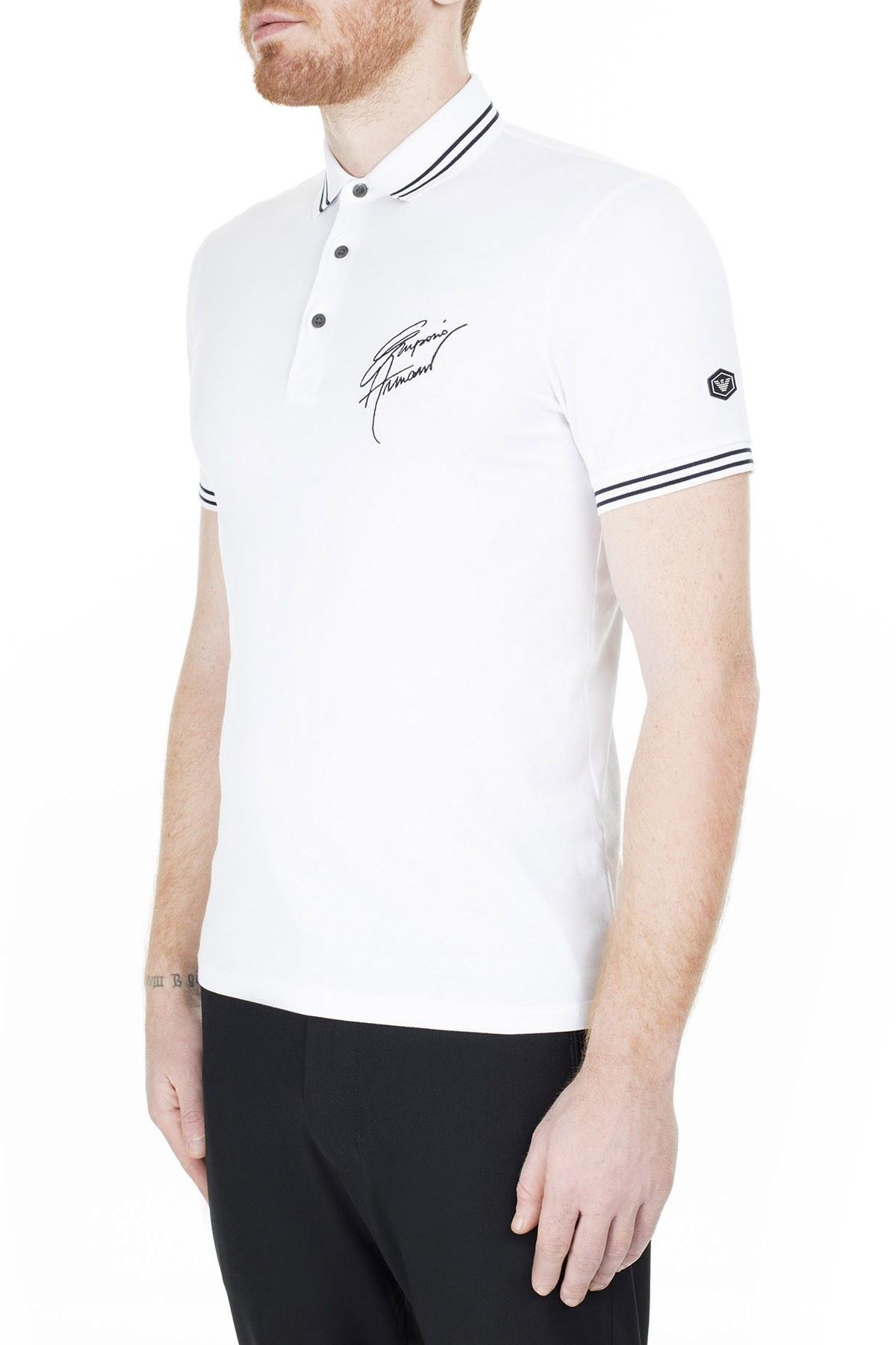 Emporio Armani T Shirt Erkek Polo 3H1FN4 1JCQZ F144 BEYAZ