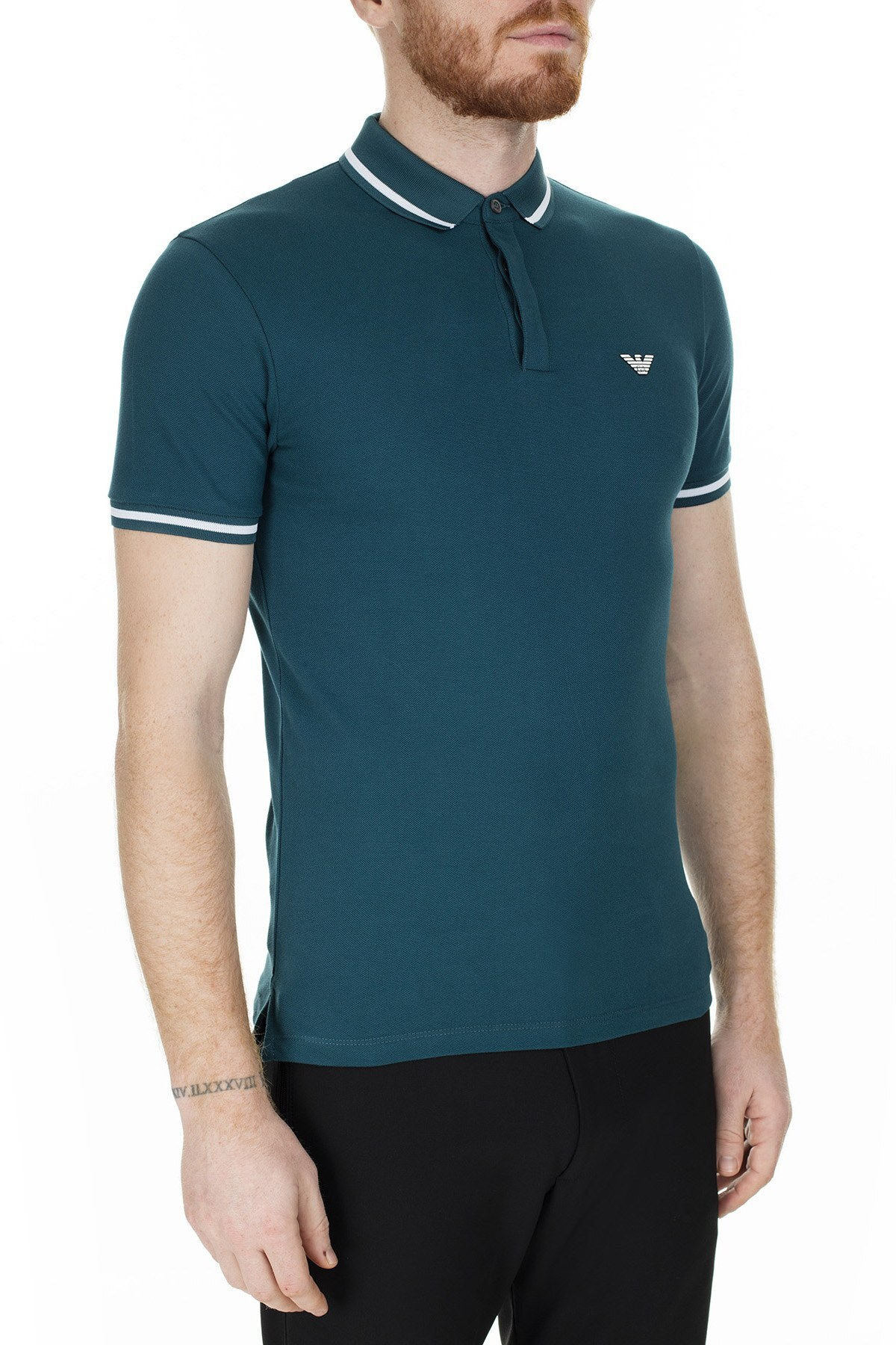 Emporio Armani T Shirt Erkek Polo 6G1FE1 1J0SZ 0956 PETROL