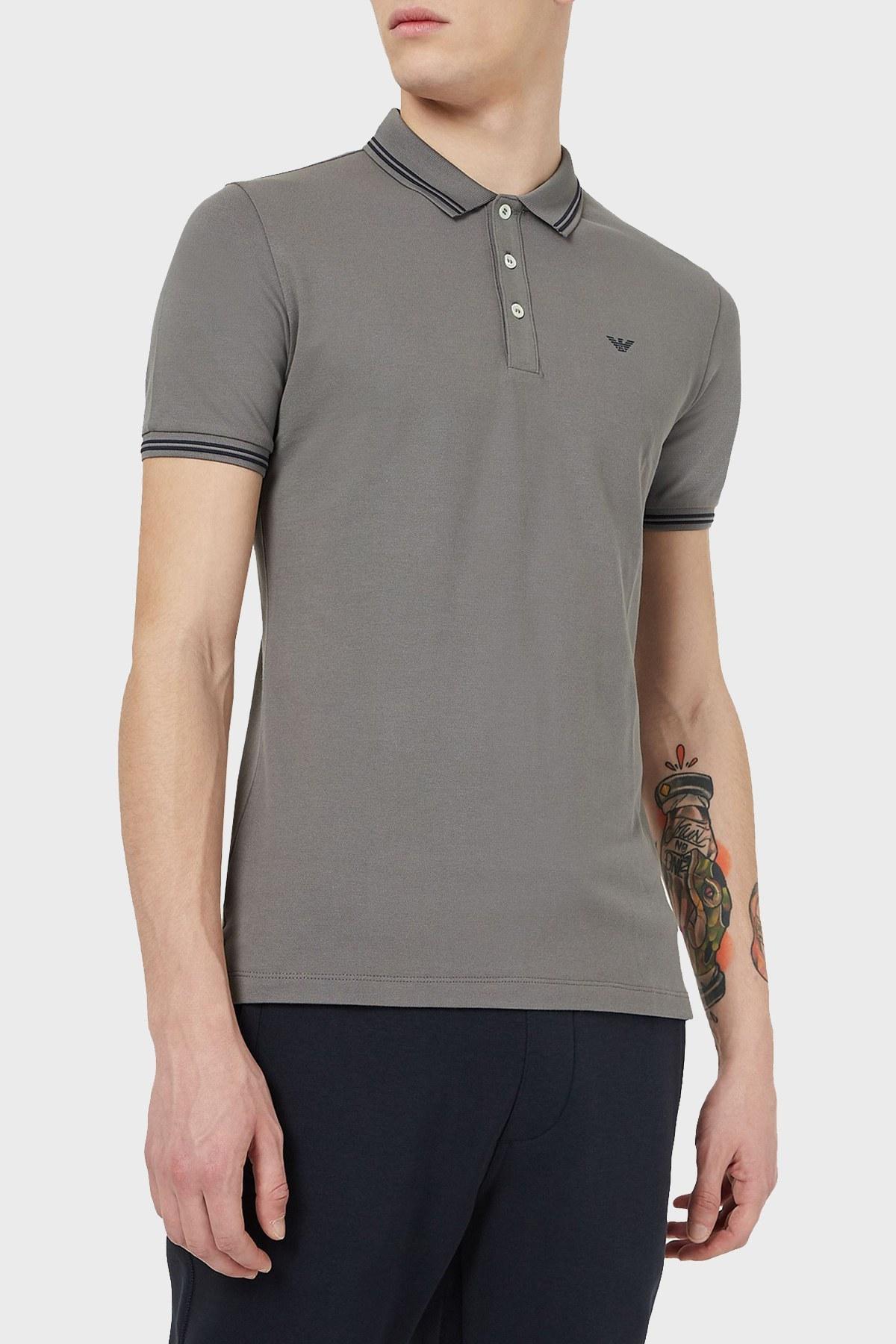 Emporio Armani T Shirt Erkek Polo 8N1F30 1JPTZ 0635 GRİ