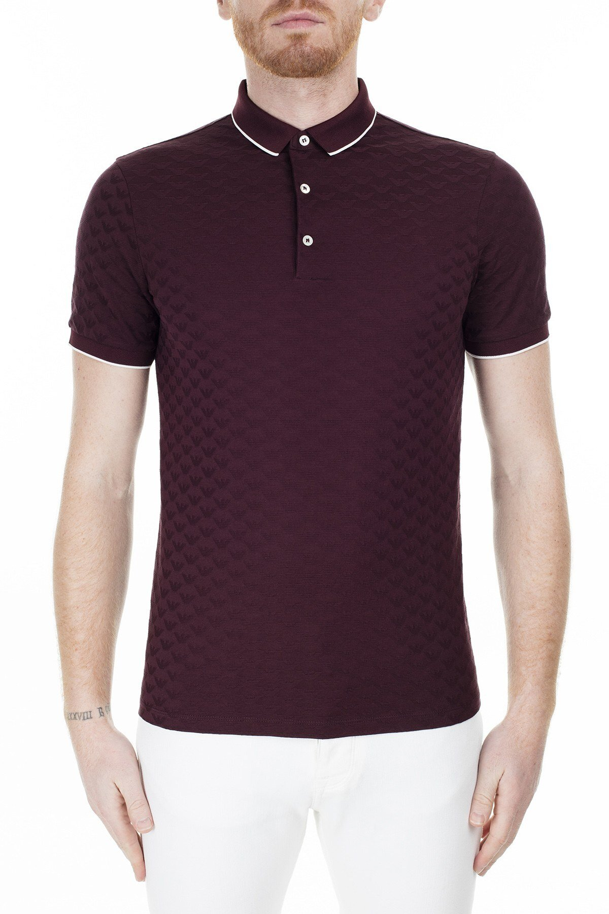 Emporio Armani T Shirt Erkek Polo S 6G1FP0 1JHWZ 0348 BORDO