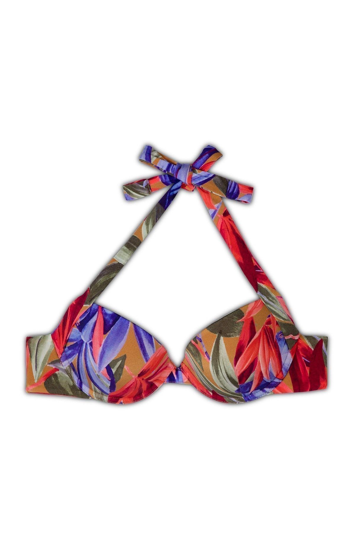 Emporio Armani Tropikal Desenli Bağlama Detaylı Kadın Bikini 262456 0P300 09372 MOR