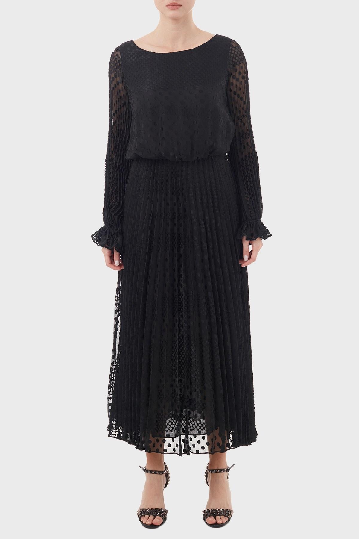Emporio Armani Tül Detaylı Piliseli Bayan Elbise 6H2A80 2NMBZ 0999 SİYAH