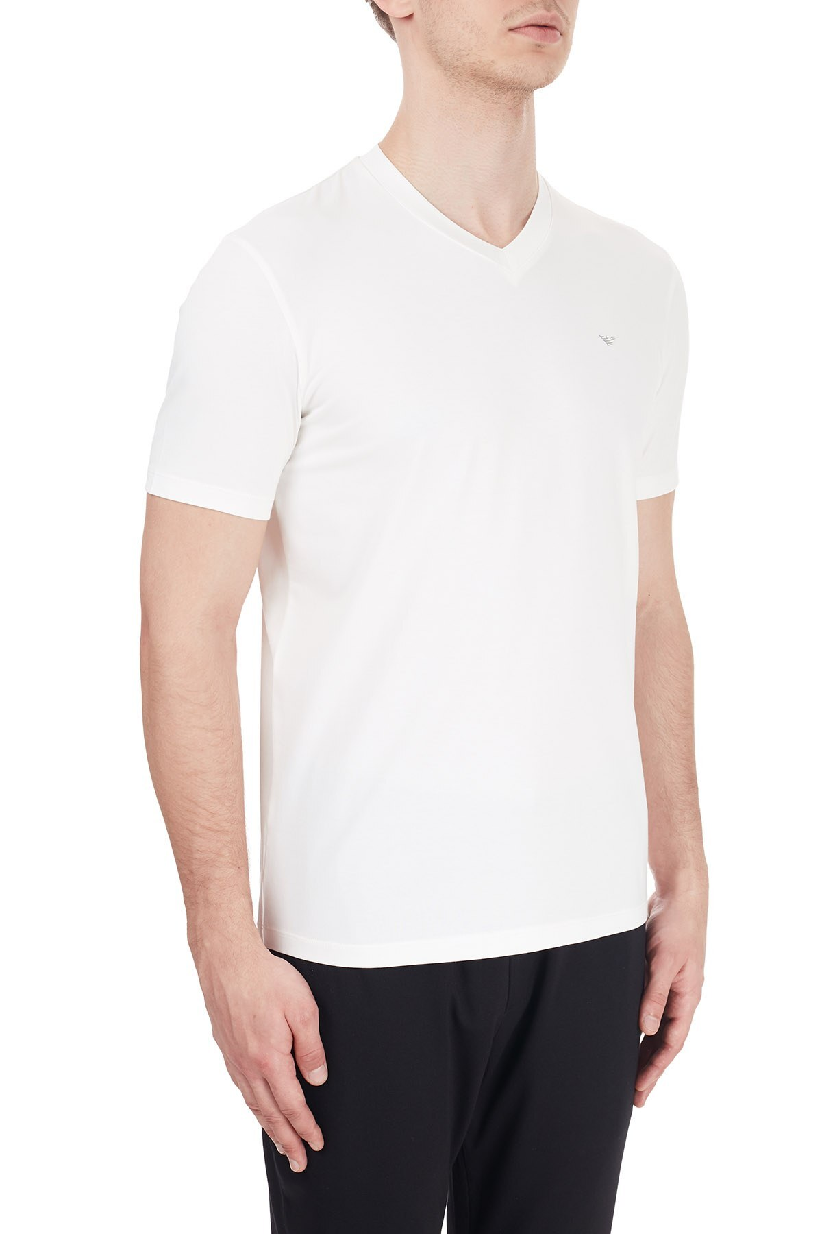 Emporio Armani V Yaka Pamuklu Erkek T Shirt 6H1TS1 1JJRZ 0101 BEYAZ