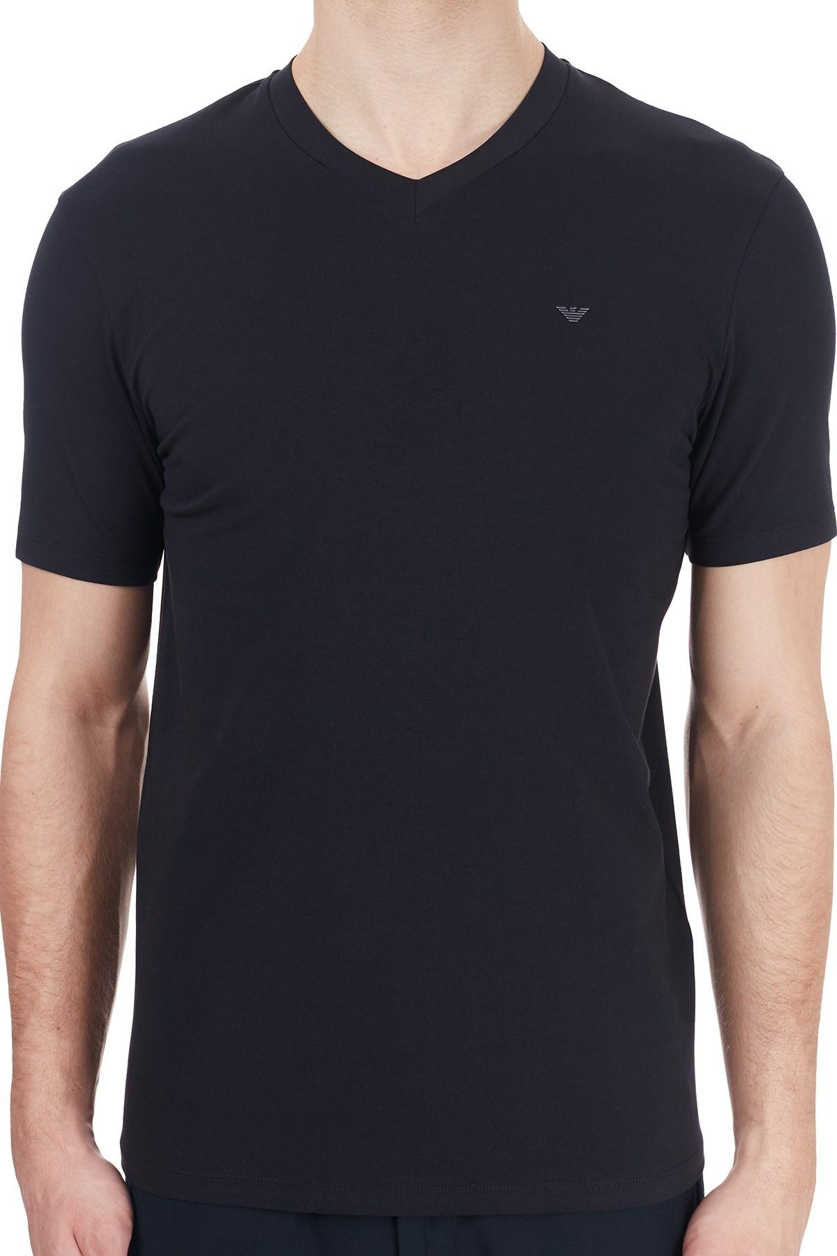 Emporio Armani V Yaka Pamuklu Erkek T Shirt 6H1TS1 1JJRZ 0920 LACİVERT