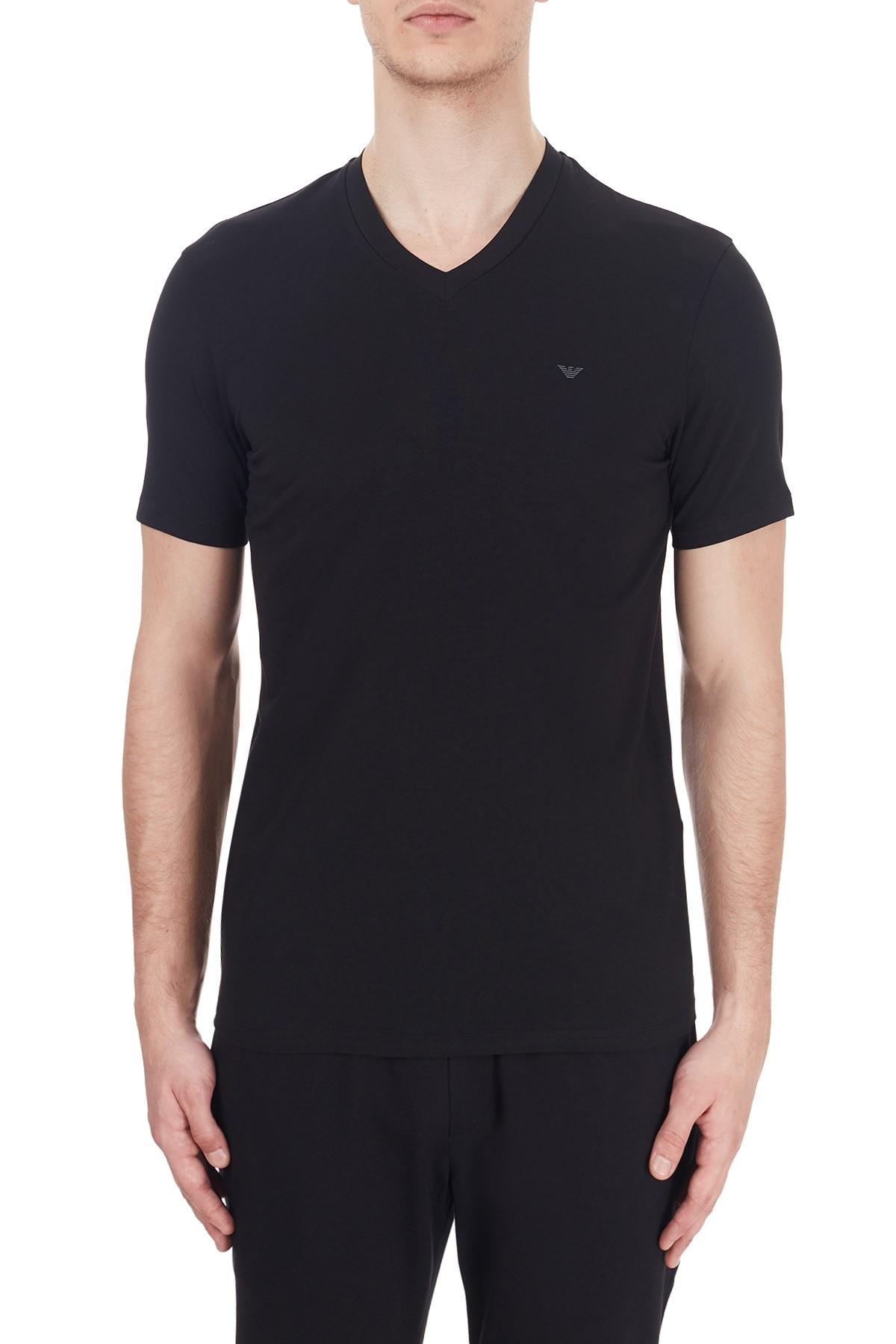 Emporio Armani V Yaka Pamuklu Erkek T Shirt 6H1TS1 1JJRZ 0999 SİYAH