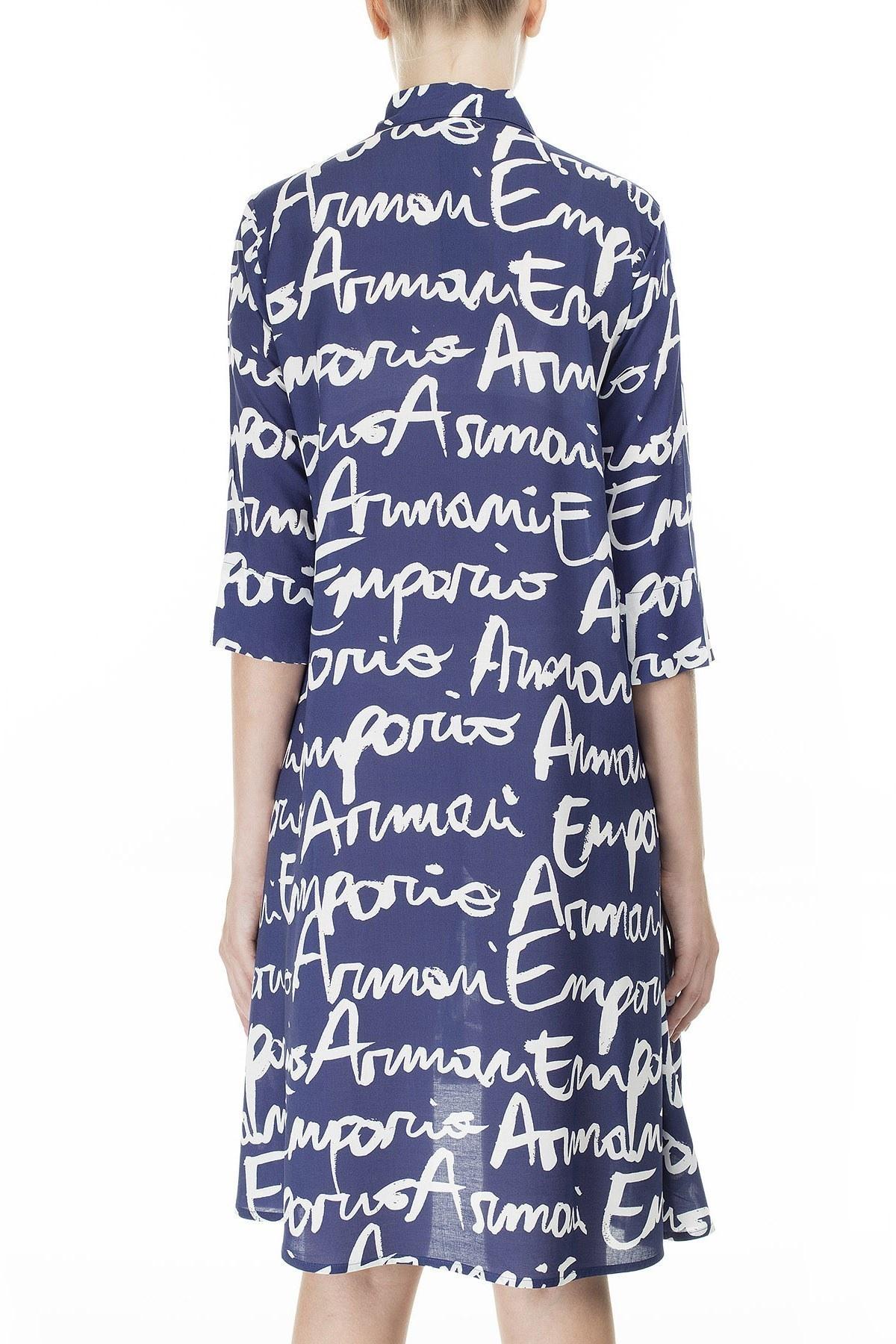 Emporio Armani Yazılı Gömlek Yaka Mini Kadın Elbise 262577 0P343 19934 LACİVERT