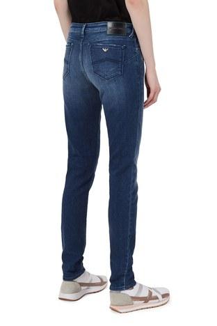 Emporio Armani - Emporio Armani Yüksek Bel Pamuklu J23 Jeans Bayan Kot Pantolon 3K2J23 2DD9Z 0941 LACİVERT (1)