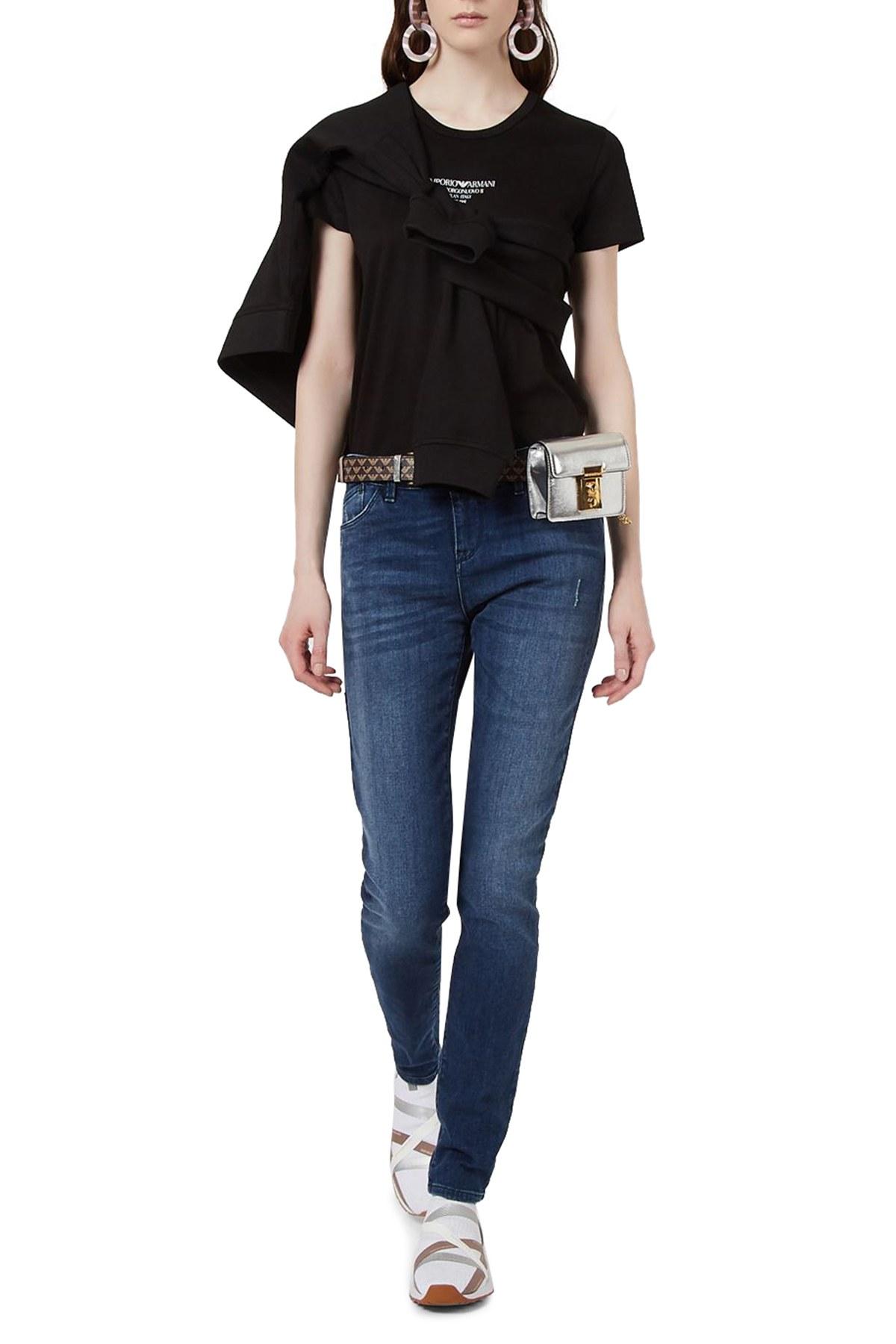 Emporio Armani Yüksek Bel Pamuklu J23 Jeans Bayan Kot Pantolon 3K2J23 2DD9Z 0941 LACİVERT