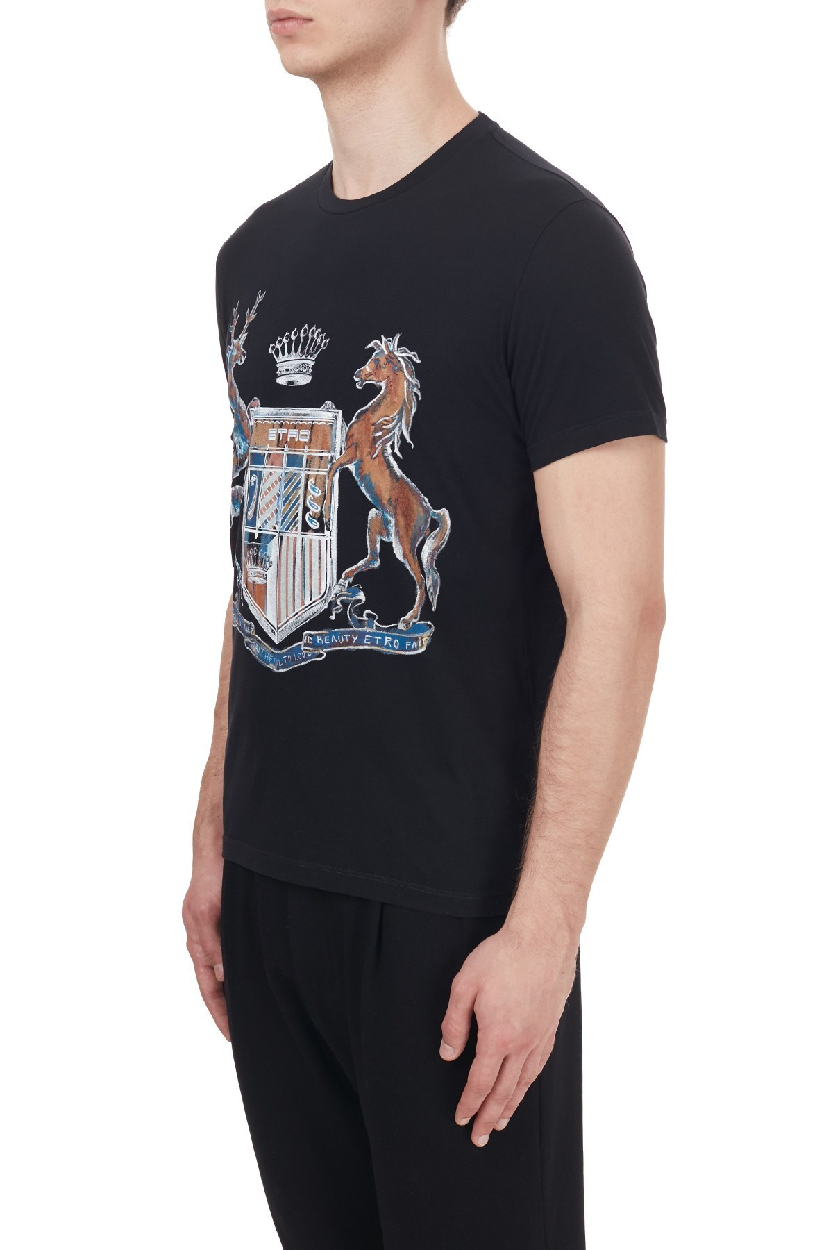 Etro% 100 Pamuklu Bisiklet Yaka Erkek T Shirt 1Y020 97590 001 SİYAH
