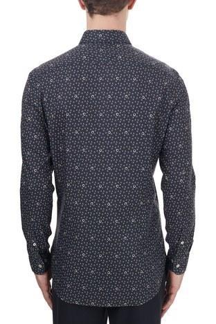 Etro - Etro % 100 Pamuklu Düğmeli Yaka Desenli Slim Fit Erkek Gömlek 1K964 3340 0200 LACİVERT (1)