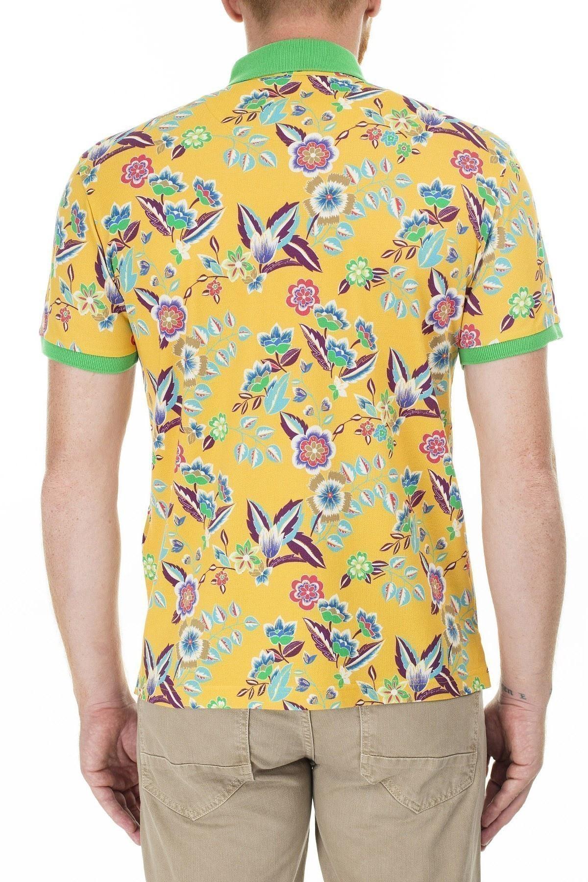 Etro Regular Fit Çiçek Desenli Düğmeli T Shirt Erkek Polo 1Y800 4059 700 SARI