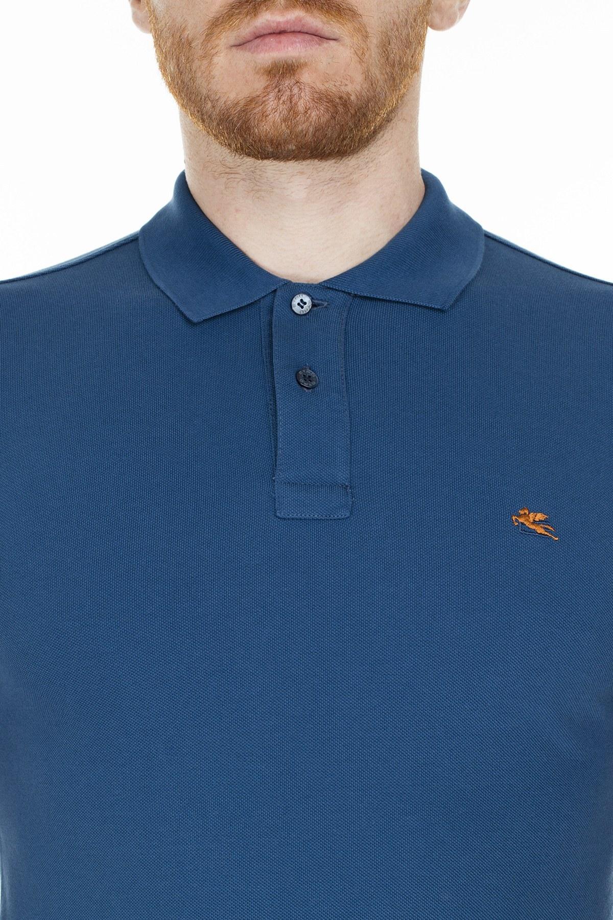Etro Regular Fit T Shirt Erkek Polo 1Y140 9240 201 MAVİ
