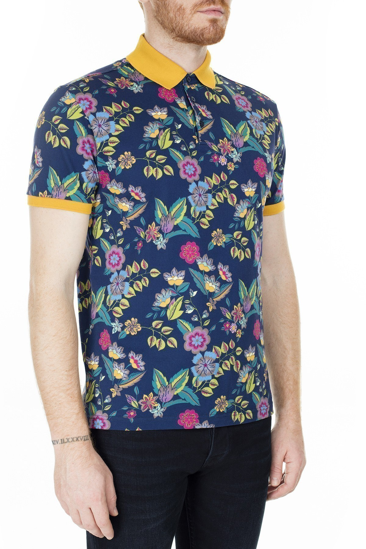 Etro Regular Fit T Shirt Erkek Polo 1Y800 4059 200 LACİVERT