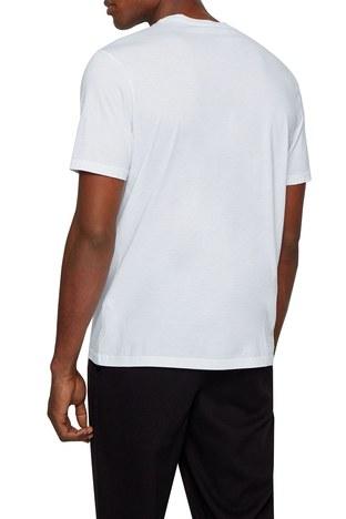 Hugo Boss - Hugo Boss % 100 Pamuklu Baskılı Bisiklet Yaka Erkek T Shirt 50446474 100 BEYAZ (1)