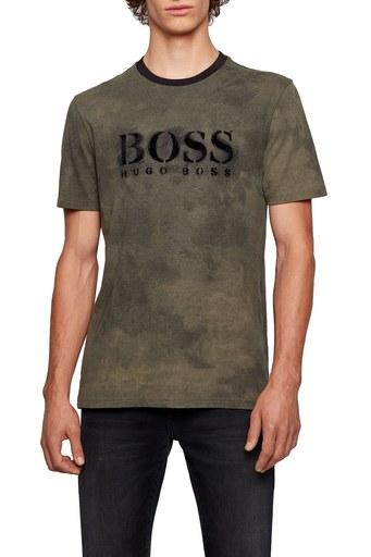 Hugo Boss % 100 Pamuklu Baskılı Bisiklet Yaka Erkek T Shirt 50451176 342 HAKİ