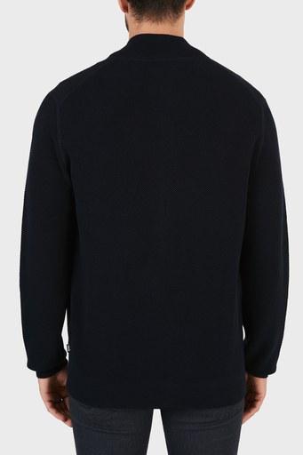 Hugo Boss Dik Yaka Cepli % 100 Pamuk Erkek Hırka 50452411 402 LACİVERT