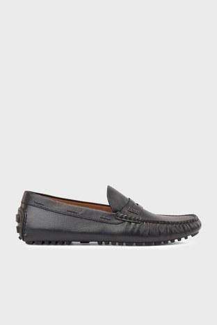 Hugo Boss - Hugo Boss Hakiki Deri Loafer Erkek Ayakkabı 50446030 001 SİYAH