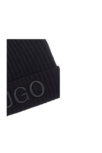 Hugo Boss Logo Baskılı % 100 Yün Erkek Bere 50438407 001 SİYAH